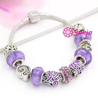 Wholesale Cancer Ribbon Bracelets - 6PCS LOT DIY European Style Pancreatic Cancer Awareness Purple Ribbon Bracelet Gift Bracelets for Women Jewelry Pulser