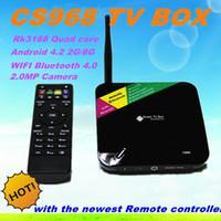 Wholesale Cs968 Android Wholesale - NEW CS968 Android TV Box Quad Core Smart TV Receiver Webcam Microphone RK3188 1.6GHz 2G 8G HDMI AV USB RJ45 OTG WiFi Mini PC