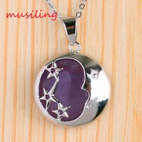 Wholesale Star Necklaces For Women - Natural Stone Star Crescent Pendant Necklace Chain Silver Plated Amethyst Crystal etc Reiki Charms Accessories Fashion Jewelry For Women