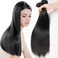 boyanabilir bakire saç uzatmaları toptan satış-Kamboçyalı Düz İnsan Virgin Saç Örgü Doğal Renk Çift Atkı Boyanabilir Ağartılabilir 3 adet / grup 100 g / adet İnsan Remy Saç Uzantıları