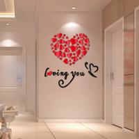 ingrosso autoadesivo della parete di amore 3d specchio-Vendita calda per adesivi murali Specchio acrilico Adesivo fai da te Decorazione della casa Adesivo 3D di amore Soggiorno Design moderno