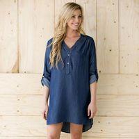 Wholesale Long Casual Blue Dress - Hot Selling 2016 Spring Autumn Fashion Denim Blue Dress Women V-Neck Long Sleeve Casual Mini Dress Plus Size Women Clothing