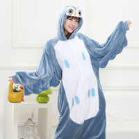 Wholesale owl dress blue - New Hot Sale Lovely Cheap Blue Owl Kigurumi Pajamas Anime Pyjamas Cosplay Costume Unisex Adult Onesie Dress Sleepwear Halloween S M L XL