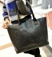 Wholesale Wild Totes - Autumn new fashion handbags High quality PU leather Women bag Large capacity woven lattice shoulder bag Wild leisure Female bag