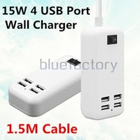 15W 4 puertos cargador de pared de escritorio USB AU US UK plug HUB con interruptor 1.5m cable adaptador de corriente AC para iphone 7 Samsung S7 iPad HTC Smart Phone