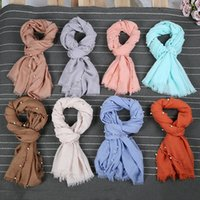 Wholesale Hijab Voile - Plain Solid Pearl Beads Viscose Scarf Shawl High Quality Wrap Cotton Voile Bandanas Headband Winter Stole Snood Muslim Hijab Drop Shipping