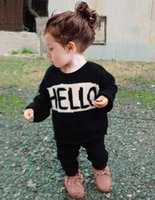 Wholesale Baby Girl Clothes Patterns Free - Boy Clothing Set Girls Clothes Hello Bye Long T shirt Black Pants 2pcs set Letter Pattern Baby Girl Clothing Sets free shipping in stock