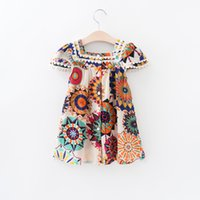 Wholesale 2017 New Girls Chiffon Floral Party Dress Vintage Puff Sleeve Summer Party Dresses