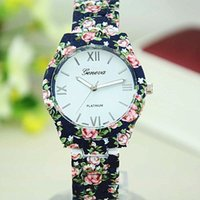 Wholesale Ladies Bracelet Watch Fashionable - New Geneva Printing Watches Hot Style Alloy Flower Bracelet Watch Ladies Watches Wholesale Fashionable Wristwatches
