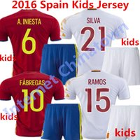 Soccer spain soccer goalkeeper jersey - 2016 Spain Kids Jersey Espana European Cup Ninos camisetas de futbol Fabregas Ramos Isco Iniesta Youth Children Goalkeeper Shirts Kits