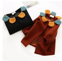 Wholesale Outwear Coat Flower - Kids Outwears Girls Woolen Flower Round Collar Cardigan Coats Winter New Children Pure Color Single-breasted Tench Coat Kids Clothes