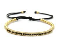 Wholesale Men Tube Top - Top Quality Men & Women Jewelry, 4mm High Grade Bronze Beads Cubic Zirconia Curved Long Tube Bar Braided Macrame Bracelets