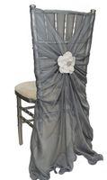Wholesale Luxurious Jacquard - 2016 Chiffon 3D Flower Wedding Chair Sashes Romantic Chair Covers Floral Wedding Supplies Luxurious Wedding Accessories 02