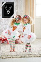 Wholesale Christmas Reindeer Top - Baby Christmas Clothes Girl Clothing for Kids Toddler Outfit 2pcs Long Sleeve Reindeer Tops Tousers Shirt+Long Dress Pants Children Fall Set