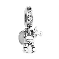 Wholesale Hearts Teddy Bear Gifts - 2017 Mother's Day Gift Baby Treasures Hanging Charms 925 Sterling Silver Enamel Heart Pacifier Teddy Bear Beads For Charm Bracelets Jewelry