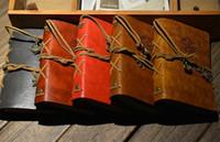 cadernos de revistas de couro vintage venda por atacado-Atacado-5PC Vintage Náutico Aplicado Falso Couro Capa Diário Diário Blank String Notebook