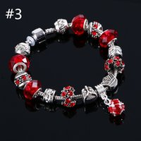 Wholesale Silver Murano Rings - 6 Colors Fashion 925 Sterling Silver Daisies Murano Glass&Crystal European Charm Beads Fits Charm bracelets Style Bracelets