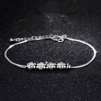 Wholesale Pretty Sale - 12Pcs Lot Hot Sale Pretty Double Chain Beads Anklets Party Wedding Trendy Fashion Jewelry 925 Sterling Silver Women Anklet Brand Style