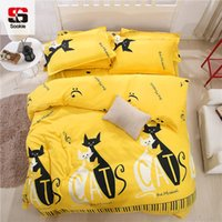 Wholesale Yellow Striped Bedding - Sookie Sanding 3 4 Pieces Striped King Sizes Bedding Sets for Girls Cartoon Duvet Cover Pillowcases Flat Sheet Twin Bedclothes