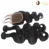 cheveux birmans achat en gros de-Cheveux birmans Bundles 1 pc Fermeture En Dentelle Avec 2pcs Même Longueur Cheveux Vague de Corps Naturel Couleur Non Transformés Cheveux Humains Extension