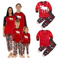 Wholesale Kids Christmas Pyjamas Wholesale - 2016 New Kids Christmas 2PCS Suits Boys Girls Christmas reindeer Pajamas Set Pyjamas Kids Spring Sleep Clothing Set christmas family pajamas