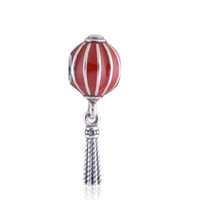 Wholesale Sterling Silver Hang Charms - crown bracelets Silver Chinese Lantern Hanging Charm Enamel 925 sterling silver charms loose beads diy jewelry for thread bracelet DC335