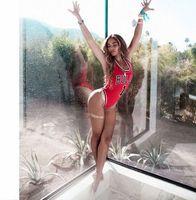 Wholesale Beyonce Costumes - Red rompers womens print jumpsuit Rihanna Miley Beyonce bulls bodysuit basketball swimwear swimsuit Jumpsuits Costume bodysuit