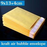 Wholesale Color Plastic Paper - 100PCS 9x13+4cm Yellow Color Kraft Paper Bubble Envelope Bag Mailers wthout printing