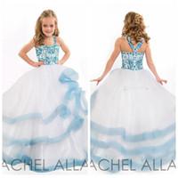vestido azul hermoso del desfile de las muchachas al por mayor-2016 Beautiful Girls Pageant Vestidos de fiesta Vestidos de belleza Vestidos con gradas Blanco azul Vestido de niña de flores Princesa Vestido de fiesta