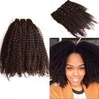 Wholesale Cheap Virgin Hair Clips - 4a 4b  4c 3a 3b 3c Mongolian virgin afro kinky curly hair afro african american cheap clip in hair extensions G-EASY