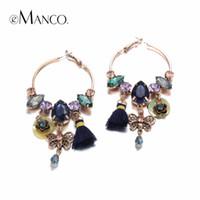Wholesale Gold Seashell Charms - eManco 3 Colors Ethnic Bohemia Tassel Charms Hanging Drop Dangle Earrings for Women Seashells Crystal Ear Brand Jewelry