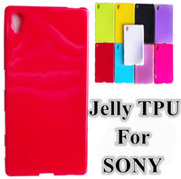 Soft Candy Plain Jelly TPU Rubber Gel Glossy Case Cover para Sony Xperia Z3 Z4 Compact Mini Z5 premium Plus C4 C5 M5