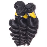 Atacado Brazilian Loose Curl 3 Bundles 7A Unprocessed Human Hair Tece Brazilian Loose Wave Hair Wefts Extensões de cabelo preto natural Soft