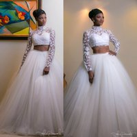 Wholesale Stylish Bridal Dresses - 2017 South African Arabic High Collar Wedding Dresses Stylish Two Pieces Lace Long Sleeves Tulle Skirt Bridal Gowns Custom Made