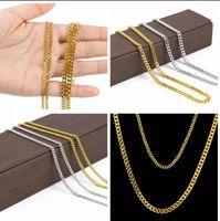 erkekler için altın yıldız zinciri toptan satış-AAAAA yıldız 24 K 3mm / 5mm 30 inç Geniş Katı Altın ve gümüş Kaplama Küçük Miami Küba Curb Link Zinciri erkekler Kalça hop zincir Kolye takı