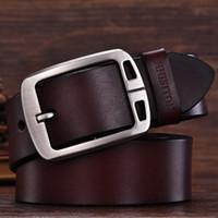 Wholesale 38 pin - mens cow genuine leather man belt luxury strap male belts for men new fashion vintage pin buckle Designer belt brand