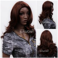 Wholesale Long Reddish Brown Hair - 3621 NAWOMI African Reddish Brown African Wigs Women's Synthetic Hair Medium Long Wave Hairpiece Fashion Trend