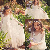 Wholesale Cute Lovely Images - Lovely Lace Flower Girls Dresse 2017 V Neck Illusion Girls Communion Gowns Long Sleeves Girls Pageant Dress Birthday Gown Cute