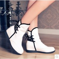 Scarpe Donna Drop Shipping All'ingrosso new 2017 Plus Size Hidden Wedges Heel Giallo Bianco Rosso Moto Autunno Donna Stivali