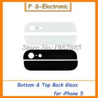 iphone alt cam toptan satış-10 takım siyah / beyaz Üst ve Alt Arka Arka Cam Monte Konut yukarı ve aşağı Kapak Seti Kiti iPhone 5G 5 s için Yedek Parçalar