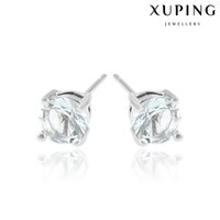 Wholesale White Stick Numbers - Xuping Hot Sell Women Mix Color Zirconia Stud Earrings Wholesale Price Rhodium Plated Copper Ear Stick For Gift DH-18-10K0063