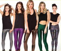 Wholesale Wholesale Yoga Style Clothing - Women multicolor printing mermaid scales fish pattern shiny nine Leggings Sexy Slim Yoga Gym Women Sport Elastic pants Women's clothing 5