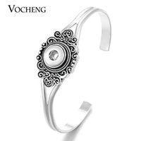 Wholesale Cuff Button Silver - VOCHENG NOOSA Vintage Snap Charm Cuff Bangle Small 12mm Button Jewelry NN-402