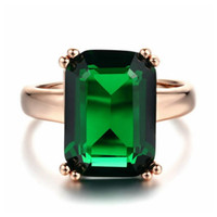Wholesale nickel plating brass - Stylish ol 18K Rose Gold Plated square green crystal No nickel no lead no cadmium R700