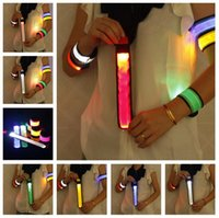 Wholesale Led Flashing Armband - Nylon LED Sports Slap Wrist Strap Bands Wristband Light Flash Bracelet Glowing Armband Flare Strap For Party Concert Armband 200pcs