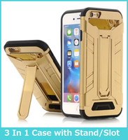 Wholesale Transparent I Phone Cover - For Galaxy S7 S7 Edge Case Luxury Hybrid Armor PC + TPU Anti-Broken Military Tanks 3in 1 Mobile Phone Cover Cases with Stand Card Slot For i