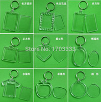 Wholesale Clear Blank Acrylic - Wholesale ! DIY Acrylic Blank Photo Keychains Shaped Clear Key Chains Insert Photo Plastic Keyrings DHL Fedex Free 1000pcs