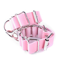 Wholesale pink pu Leather Handcuffs Restraints Costume Adult Sex Flirt Toys Sex Products Harness Sex Toys S M Erotic Toys for Couples