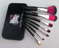 Wholesale Selling Wholesale Make Up - Hot selling 7Pcs Set Hello kitty Make Up Cosmetic Brush make up brush Kit with Metal box
