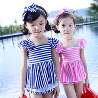 Wholesale Wholesale Girls Hair Pieces - Kids Swimwear for Girls two pieces Swimsuit sets Children Striped swimming suit Summer Beach bathing suit with hair band Baby Gifts 2016 new